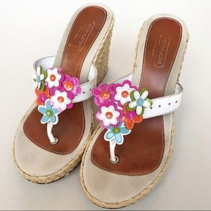 Coach Wedge Sandal Leather Floral Accent Sz 7